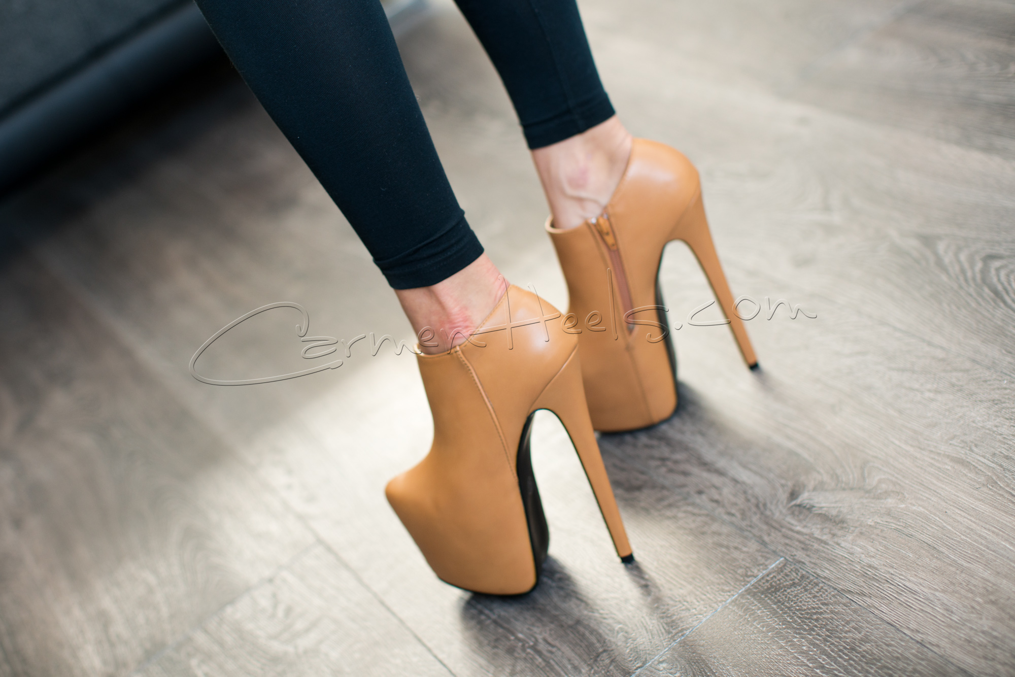 platform stiletto ankle boots in tan